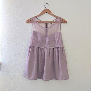 F21 Lilac Mesh Top with Princess Cut - Size L